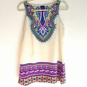 Tribal Geo Aztec Boho Sleeveless Long Top Size  M